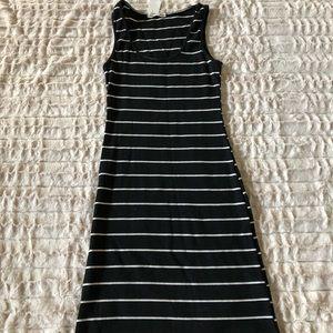 Black and white striped bodycon dress
